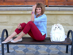 DSCN3492+Doshedevr+Ps (Mama Told Me) Tags: outfit look lookoftheday outfitoftheday lookbook marsala stripes cats backpack casual model fashionblogger fancy activered howtowear sunglasses catlook catlover