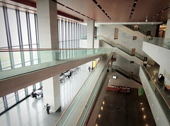 Modern architecture lines - Hefei public cultural gallery, China (Germán Vogel) Tags: asia eastasia china travel traveldestinations traveltourism tourism touristattraction landmark holidaydestination famousplace anhui hefei chineseculture gallery modernarchitecture architecture interior inside indoors vanishingpoint floors publicsquare publicspace freeadmission opengallery window staircase
