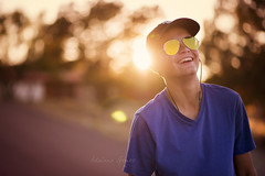 Last days of 13 (Adriana Gomez Photography) Tags: color availablestockimage horizontal boy shades sunglasses sunset laughter happy laugh laughing outdoors fun teen teenager hat earbuds child innocense jessicadrossin life magical naturallight nikon youth