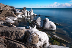 Icy Grip II (B.E.K.) Tags: ice lake toronto ontario canada winter water sky clouds rocks rebar concrete rubish rubble junk landscape outdoor longexposure