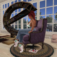 E is for... (Karrin Cobalt) Tags: secondlife bookshelf sitting nailpolish sneakers jeans redhead