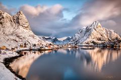 Reine once again. (darklogan1) Tags: reine lofoten norway snow morning fiord landscape cabins logan darklogan1 clouds harbour