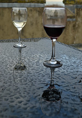 on the roof of a mini-Castle (conall..) Tags: wine red white glass glasses shower rain drops top table reflection helen helens tower clandeboye estate northdown