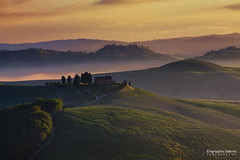 Misty spring at Crete (Agrippino Salerno) Tags: cretesenesi tuscany italy hills morning fog misty countryside colors countryfarm trees tree cypress agrippinosalerno canon manfrotto beautiful clouds sky green light asciano siena landscape