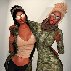 Sisters Motherf***er (Aviaya Nox) Tags: catwa truth addams sl secondlifephotography slphotography secondlife secondlifephoto secondlifefashion secondlifestyle slphoto sllife sunglasses camo sisters