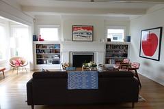 Living Room w/ Enclosed Porch (Heath & the B.L.T. boys) Tags: modern livingroom couch apple art shelves