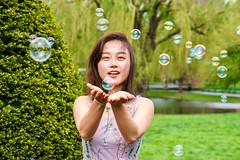 Portrait With Bubbles ((Jessica)) Tags: bubbles soapbubbles boston publicgarden portrait spring green sony a6000 50mm