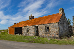 Abandoned on Lismore (cathbooton) Tags: building farmhouse roof iron corrugated abandoned old derelict wreck outdoor may sunshine blueskies clouds scotland westcoast lismore isle island windows chimney door