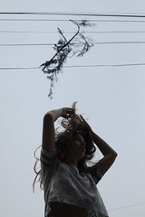 (▲·stardust) Tags: branch hanging hair floating wires tangled arms freedom self