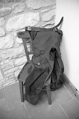 Fjällräven's Vidda Pro Trousers (Man with Red Eyes) Tags: trix kodak hc110 160 115mins v850 leicam2 summicron35mmf2 iv v4 analog blackwhite monochrome silverhalide sunnysixteen northumberland northumbria ingram cheviots bushcraft trousers viddapro fjällräven walking kit chair dumped belt leather