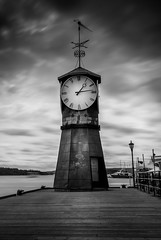 Clock Tower (Ajnaraja) Tags: aker brygge clock 1000x nd architecture bw sky water sea oslo