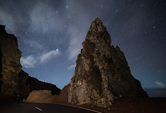The Rock (free3yourmind) Tags: rock mountains night sky stars clouds road turn lapalma spain canary islands roque delosmuchachos travel nature