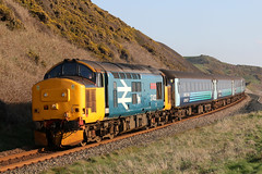 37402+9709 (Cumberland Patriot) Tags: arriva rail north ltd northern drs direct services ee english electric type three class 37 374 37402 37274 6974 d6972 oor wullie bont y bermo stephen middlemore 23121954 862013 diesel dieselelectric locomotive loco hauled push pull cumbrian coast railway line cumbria cumberland nethertown copeland borough 2c41 passenger train 9709 mk2 dbso driving brake second open carriage railroad track outdoor outside trains