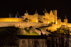 Castle and walls of Carcassonne (135pixels) Tags: carcassonne city france carcassona castle tourisme medieval med mediaeval citadel night nightly nocturnal cataro strength fort french europe travel wall county fortified basilica nazaire saint gimer arches defense moat turrets