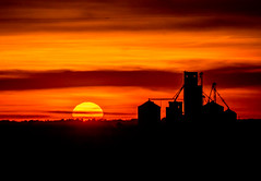 Sunset with Grain Elevator (Kerry Wright2013) Tags: sunsetgrainbin red grainelevatorskyfarmingstructurecloudsomd em5 mark ii
