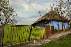 Blue House, Green Fence (fesign) Tags: architecture blue buildingexterior cloudsky colourimage countryside day europe fence gate grass green horizontal house humaninterest hungariantradition nopeople outdoors photography romania roof ruralscene sky telegraphpole thatchroof traditional tranquility transylvania tree village