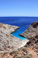 Сrete (irinat2) Tags: crete greece bay sea turquoise color blue boat mountains landscape panorama traveling travel sky