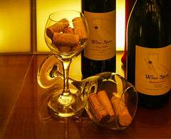 Wine Spots From Napa Valley (Steve Taylor (Photography)) Tags: winespots napavalley wine glass sonomacoast syrah 2006 2003 cabernetsauvignon bottle brown red yellow light glow reflection sanfrancisco usa