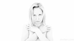 Beauty III (#Weybridge Photographer) Tags: hot beautiful sexy cute model female woman lady girl topless naked nude studio pose posed adobe lightroom canon eos dslr slr 5d mk ii arms crossed cross blonde blond mkii monochrome high key white background
