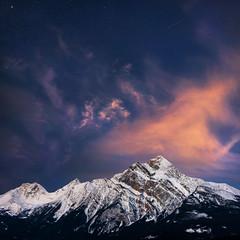 Pyramid Mountain (Jay Daley) Tags: canada jasper mountain pyramid night sky stars sunrise sony a7r