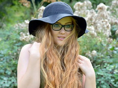 Vision. (pstone646) Tags: youngwoman younglady beauty portrait people pretty redhead hat outdoors glasses longhair
