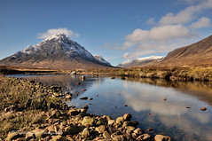 A Moment In Time (jeanette_lea) Tags: buachaille etive mor glencoe scottish highlands mountains sky clouds water reflections stones snow light