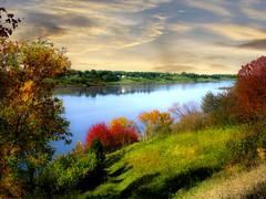 Beginning of fall (mrbillt6) Tags: northdakota landscape rural prairie reservoir jamestownreservoir lake water hill trees country fall