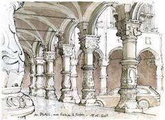Liège, au Palais (gerard michel) Tags: belgium liège architecture palais renaissance sketch croquis aquarelle watercolour