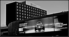 Commercial Liverpool (ronramstew) Tags: liverpool mersey merseyside uk england bw hotel holidayinn advert advertisement advertising limestreet projection 2017 2010s shell petrol gas