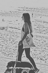 Just a walkin' the dawgs (geemuses) Tags: manly manlybeach shellybeach fairybower manlyheights longreef scenic landscape water sea ocean sand beach headland promontory surf surfing surfers scenery nsw newsouthwales bandw bw blackandwhite black white monochrome people person girl men women candid candidphoto street streetphoto