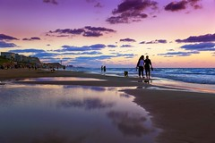Walking on the beach at sunset - Tel-Aviv (Lior. L) Tags: walkingonthebeachatsunsettelaviv walking beach sunset telaviv walkingonthebeach telavivbeach silhouettes people nature travel sea seascapes