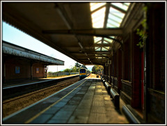 Light and shade (david.hayes77) Tags: class175 175001 atw arrivatrainswales colwynbay 2017 wales northwales arty 1d32 contrejour converginglines tiltshift