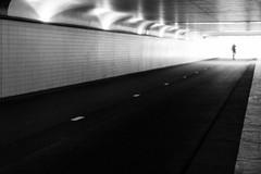 0582 (explored) (.niraw) Tags: rotterdam tunnel rotterdamcentraal hauptbahnhof niederlande bw niraw strasenfotografie mann unschärfe strase fahrbahnmarkierung überbelichtung radweg