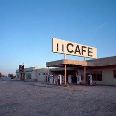 cafe. desert center, ca. 2015. (eyetwist) Tags: eyetwistkevinballuff eyetwist cafe sunset dusk sign desertcenter 6x6 ishootfilm gas pumps gasoline abandoned vintage gasstation mojavedesert mojave desert center mamiya 6mf 50mm kodak portra 160 mamiya6mf mamiya50mmf4l kodakportra160 ishootkodak analog analogue film emulsion mamiya6 square mediumformat 120 primes filmexif iconla epsonv750pro filmtagger 6 california highdesert medium format roadside america derelict desolate bypassed interstate i10 broken dirt bleak leaded ethyl old faded canopy american west closed desertcentercafe type typography typographic signgeeks lettering americana