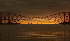 Sunrise Over the Forth Rail Road Bridge (MelvinNicholsonPhotography) Tags: forthrailbridge edinburgh scotland bridge rail sunrise waves water boats orange ripples melvinnicholsonphotography