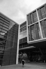 Architecture West End EPMG  (14 of 20) (Philip Gillespie) Tags: architecture edinburgh scotland mono buildings city sky spring form shape angles reflections clouds modern