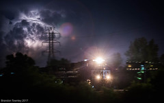 Ahead of the Storm (Brandon Townley) Tags: trains railroad ns lightning thunderstorm pan clouds lights columbus ohio