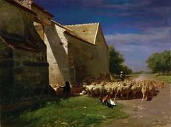 Charles-Émile Jacque - Sheep Leaving a Farmyard (1860) (Pau NG) Tags: charlesémilejacque art paintings 1860