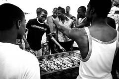 """Friendly"" game of fusball (sylvander) Tags: africa caboverde lacoste travel cidadevilha sport gambling bw pelourinho fusball hustle"