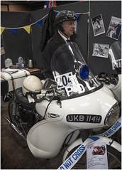 Ken Owen and his Triumph Saint police bike 1969. Classic Bike Show, Stafford 2017 (Pitheadgear) Tags: classicbikeshowstafford classicbikes bikes motorcycles motorcycling motorbikes police policemen policemotorcyclist patrolrider patrol triumphsaint triumph tr6p sixties liverpool kenowen