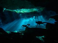 Cavern Divers (altsaint) Tags: 714mm chacmool gf1 mexico panasonic cavern caverndiving cenote scuba underwater