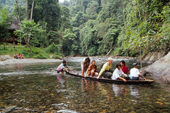 River crossing - Bukit Lawang, Sumatra (Thomas Roland) Tags: nikon f301 kodachrome 64 indonesia travel bohorok orangutan centre bukit lawang sumatra asia morning morgen jungle river crossing forest