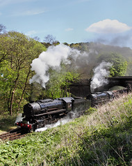 Double Headed S160 Departure. (Neil Harvey 156) Tags: steam steamloco steamengine steamrailway railway 6046 5197 froghall kingsleyfroghall churnetvalleyrailway s160 limalocomotiveworks baldwinlocomotivecompany doubleheaded