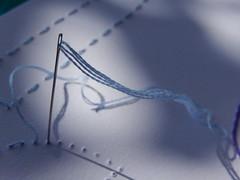 The romance of embroidery (Landanna) Tags: theromanceofembroidery embroidery embroideryonpaper broderi broderipåpapir borduren bordurenoppapier handmade handgemaakt lines paperart paperwork blue blå needle nål light lys shadows