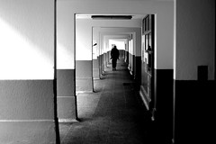 In the hallway (pascalcolin1) Tags: paris13 homme man couloir corridor hallway lumière light ombre shadow photoderue streetview urbanarte noiretblanc blackandwhite photopascalcolin