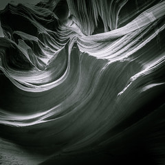 Sandstone Wave - Toned B&W (byron bauer) Tags: byronbauer blackwhite duotone navajo sandstone slot canyon wave formation page arizona texture tone rock wind water erosion sediment filtered light american southwest landscape rockscape surreal