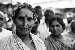 Tribal Woman at Kalighat Temple (anthonypond) Tags: 50mmsummilux bw kalighat leicam9 calcutta india