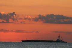 Cargo Vessel at Sea, Port Everglades, Florida (Symbiosis) Tags: cargovessel sunrise porteverglades sunasaball fortlauderdale fortlauderdaleflorida sunrays redsky redskies commercialshipping commercialshippingvessel