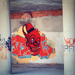 Mister Fez (Flick Vlooi) Tags: graffiti streetart artistic portrait face misterfez grinning laughing cheeky painting spray paint colourful vibrant vibrancy talented konyaalti antalya turkey
