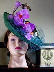 Designer hat (sharon'soutlook) Tags: hat designerhat mannequinhead orchids deboraholson milliner millineryandladiesaccessories steampunkempiresymposium 2017 awardwinning steampunkfashion periodhats